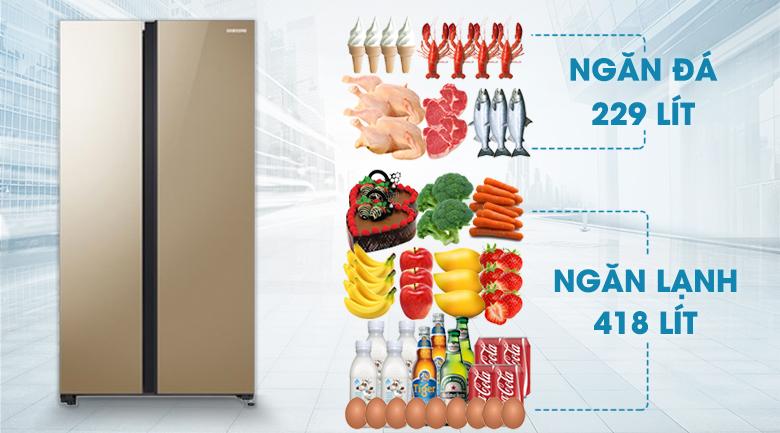 Dung tích tủ lạnh tới 647 lít - Tủ lạnh Samsung Inverter 647 lít RS62R50014G/SV