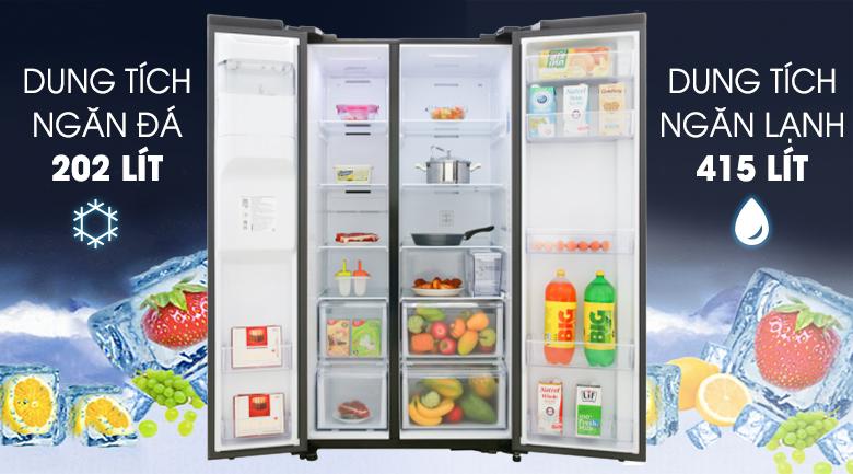 Thoải mái tích trữ thực phẩm với dung tích tới 617 lít - Tủ lạnh Samsung Inverter 617 lít RS64R53012C/SV