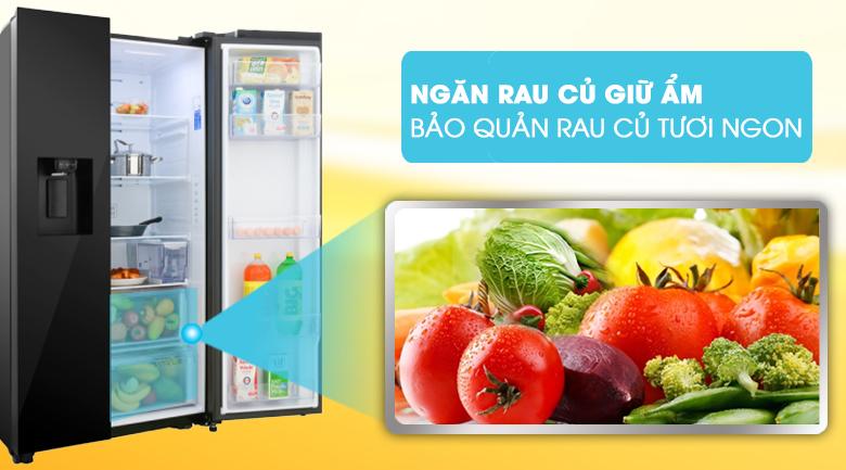 Ngăn rau củ giữ ẩm, bảo quản rau củ tươi ngon - Tủ lạnh Samsung Inverter 617 lít RS64R53012C/SV