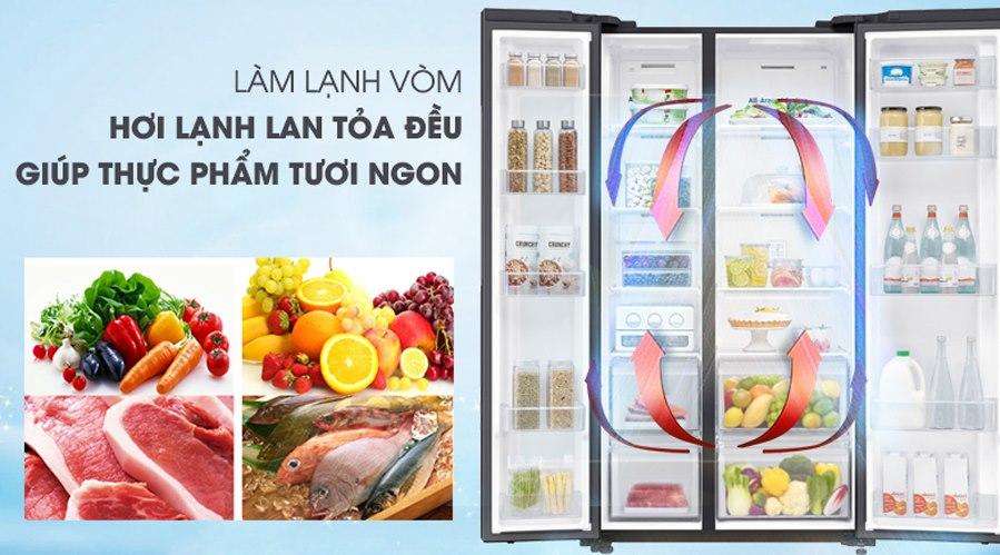 Làm lạnh tốt hơn với công nghệ làm lạnh vòm - Tủ lạnh Samsung Inverter 617 lít RS64R53012C/SV