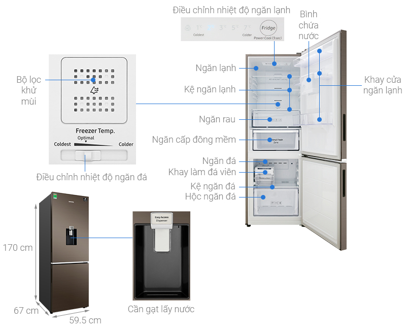 Thông số kỹ thuật Tủ lạnh Samsung Inverter 307 lít RB30N4170DX/SV