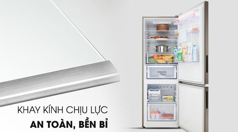 Khay chứa làm từ kính chịu lực tốt - Tủ lạnh Samsung Inverter 307 lít RB30N4170DX/SV