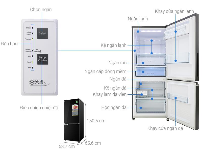 Thông số kỹ thuật Tủ lạnh Panasonic Inverter 255 lít NR-BV280GKVN