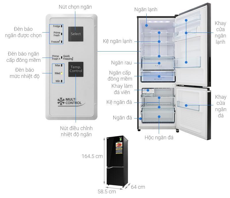 Thông số kỹ thuật Tủ lạnh Panasonic Inverter 290 lít NR-BV320GKVN