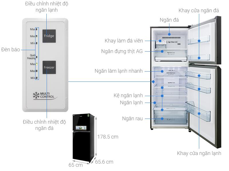 Thông số kỹ thuật Tủ lạnh Panasonic Inverter 366 lít NR-BL381GKVN