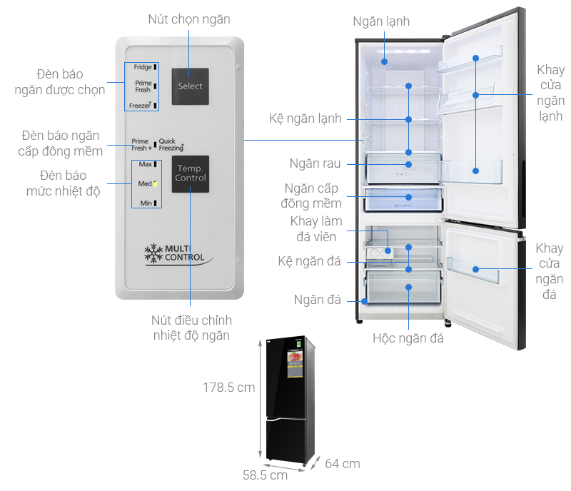 Thông số kỹ thuật Tủ lạnh Panasonic Inverter 322 lít NR-BV360GKVN