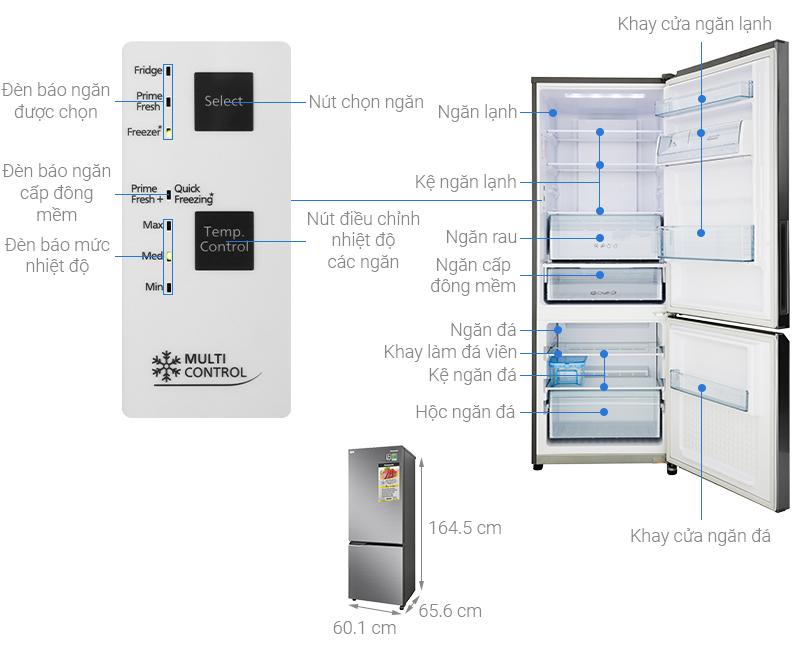 Thông số kỹ thuật Tủ lạnh Panasonic Inverter 290 lít NR-BV320QSVN