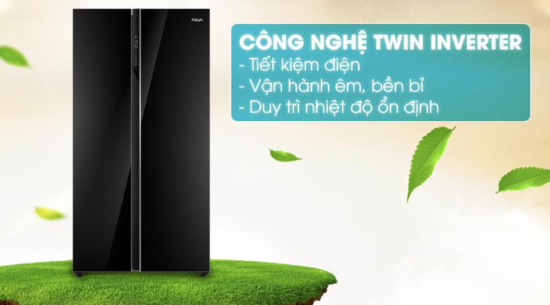 Tủ lạnh Inverter tiết kiệm điện tiêu thụ cho gia đình - Tủ lạnh AQUA Inverter 576 lít AQR-IG696FS GB