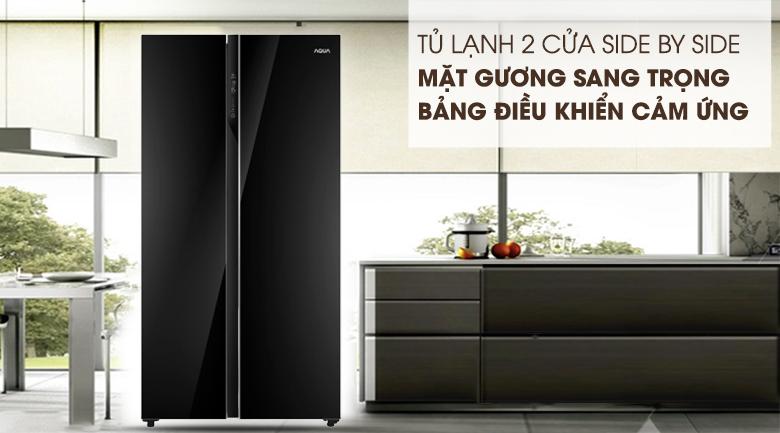 Thiết kế side by side sang trọng, đẳng cấp - Tủ lạnh AQUA Inverter 576 lít AQR-IG696FS GB