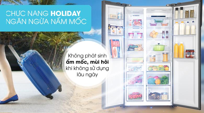 Độc đáo với chức năng Holiday - Tủ lạnh AQUA Inverter 576 lít AQR-IG696FS GB