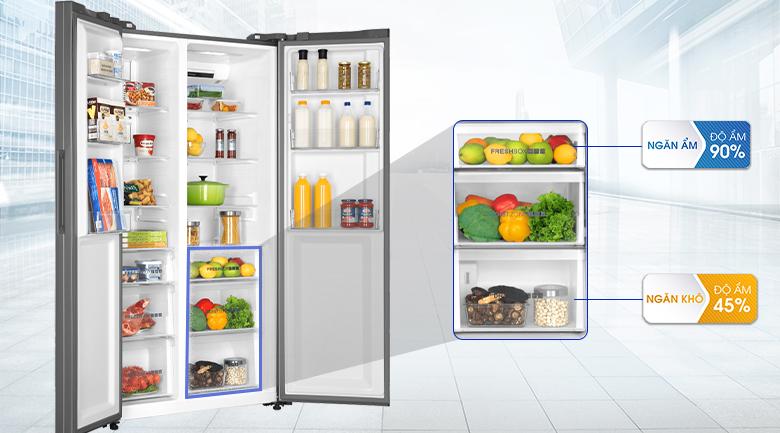 Ngăn rau quả và thực phẩm khô riêng biệt - Tủ lạnh Aqua Inverter 576 lít AQR-IG696FS GP