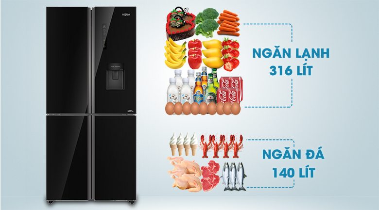 Tủ lạnh có dung tích 456 lít hiện đại, sang trọng - Tủ lạnh Aqua Inverter 456 lít AQR-IGW525EM GB