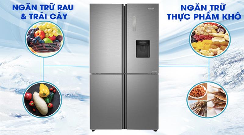 Tủ lạnh Aqua Inverter 456 lít AQR-IGW525EM GD - bảo quản thực phẩm tươi lâu với ngăn chứa thực phẩm khô và ẩm riêng biệt