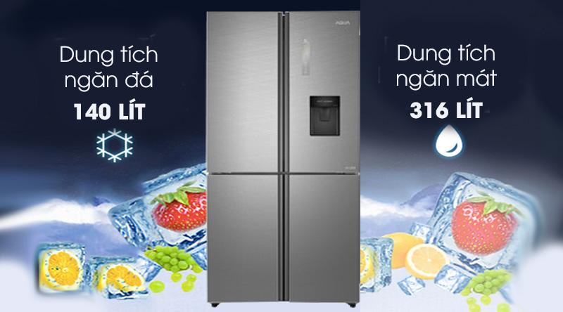 Tủ lạnh Aqua Inverter 456 lít AQR-IGW525EM GD  - Dung tích 456 lít, phù hợp gia đình từ 4 – 5 người