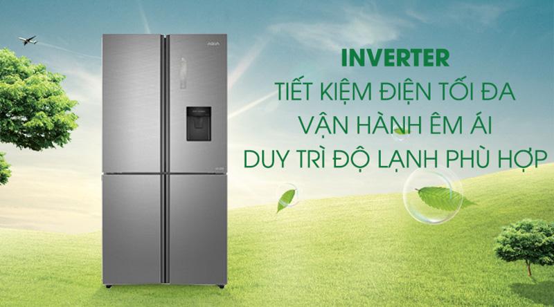 Tủ lạnh Aqua Inverter 456 lít AQR-IGW525EM GD  - Tiết kiệm điện đến 50% nhờ công nghệ Inverter
