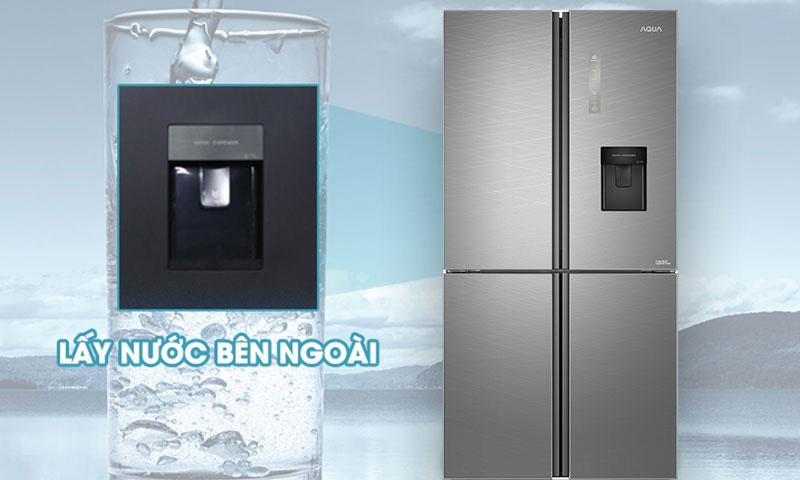 Tủ lạnh Aqua Inverter 456 lít AQR-IGW525EM GD  - Nhanh chóng với tiện lợi lấy nước bên ngoài