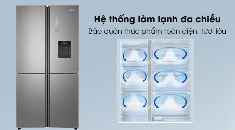 Tủ lạnh Aqua Inverter 456 lít AQR-IGW525EM GD  - Giữ thực phẩm tươi lâu với công nghệ làm lạnh đa chiều 360 độ