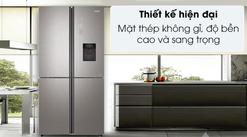 Tủ lạnh Aqua Inverter 456 lít AQR-IGW525EM GP - Thiết kế hiện đại cùng mặt thép không gỉ, sang trọng