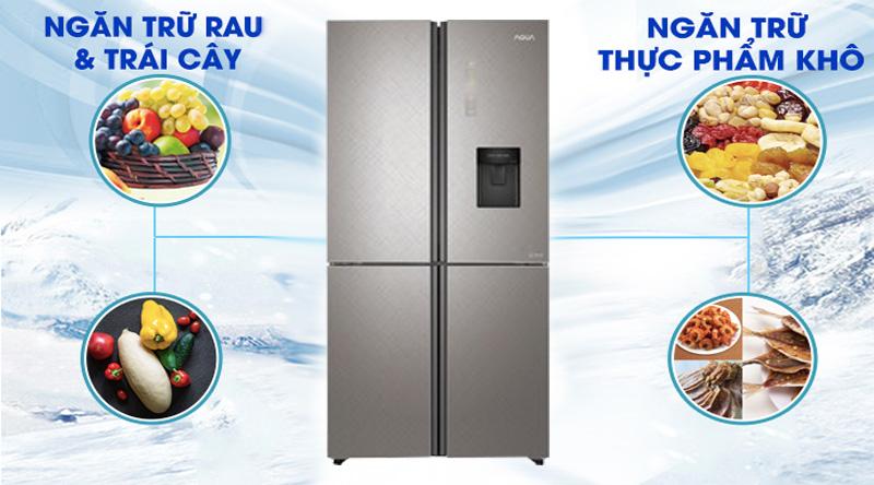 Tủ lạnh Aqua Inverter 456 lít AQR-IGW525EM GP - Bảo quản thực phẩm với ngăn chứa thực phẩm khô và ẩm riêng biệt