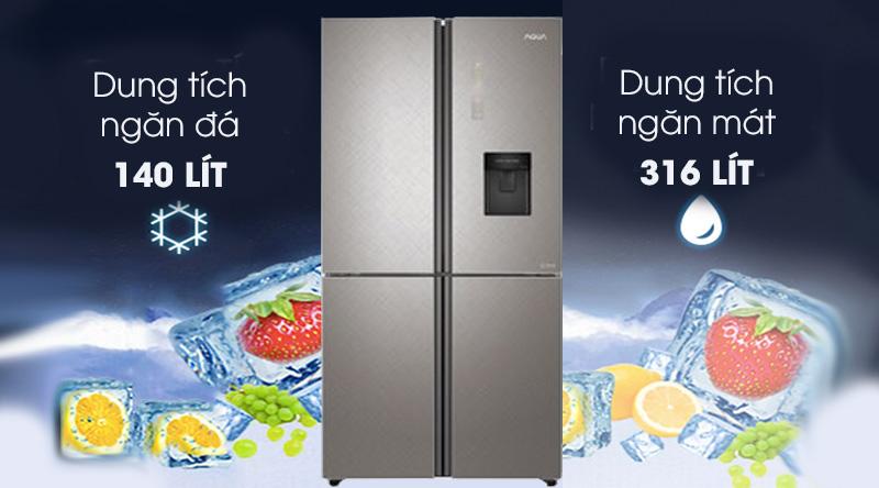 Tủ lạnh Aqua Inverter 456 lít AQR-IGW525EM GP - Dung tích 456 lít, thích hợp gia đình 5 thành viên