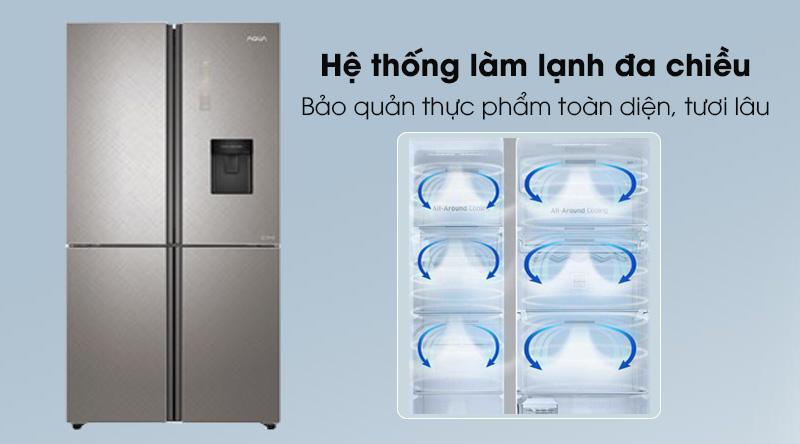 Tủ lạnh Aqua Inverter 456 lít AQR-IGW525EM GP - Làm lạnh thực phẩm toàn diện cùng công nghệ đa chiều 360 độ