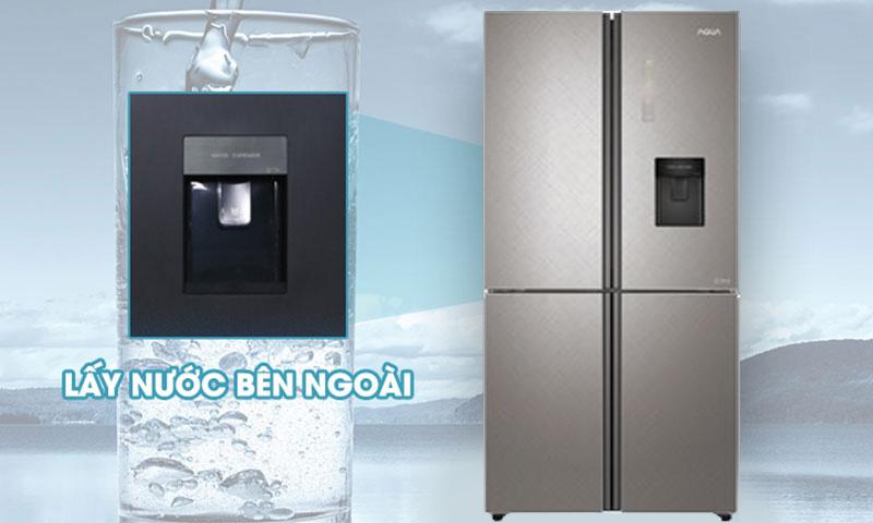 Tủ lạnh Aqua Inverter 456 lít AQR-IGW525EM GP - Thao tác nhanh chóng với tiện ích lấy nước bên ngoài