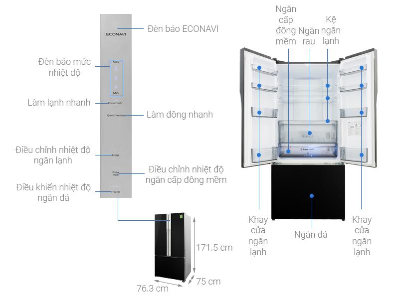 Thông số kỹ thuật Tủ lạnh Panasonic Inverter 494 lít NR-CY550GKVN