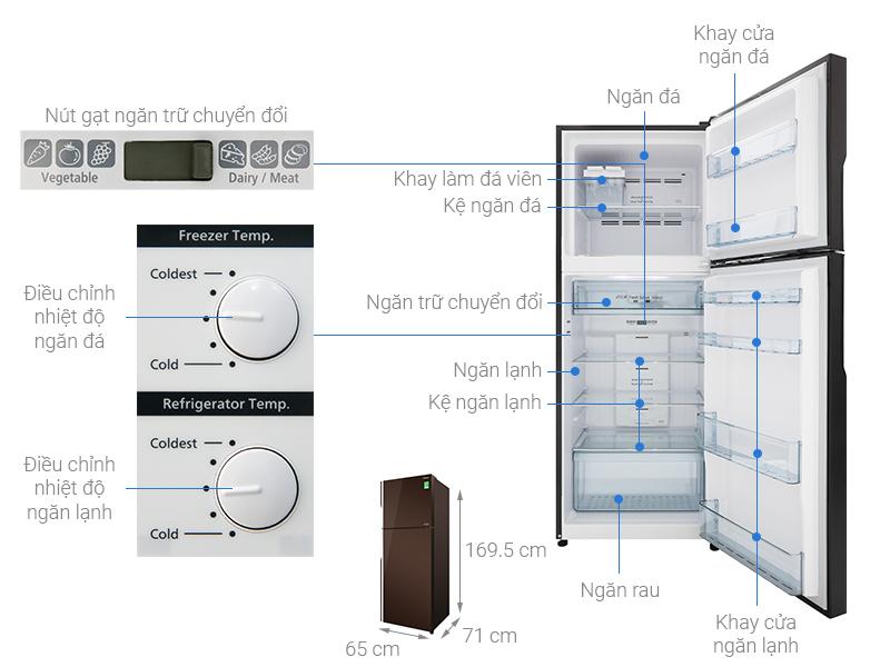Thông số kỹ thuật Tủ lạnh Hitachi Inverter 366 lít R-FG480PGV8 GBW