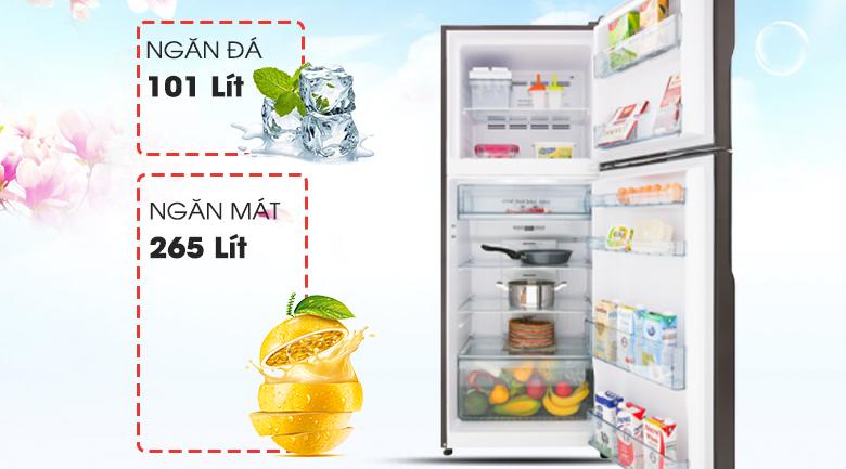 Tủ lạnh Hitachi Inverter 366 lít R-FG480PGV8 GBW - Dung tích 366 lít, phù hợp hộ gia đình 3 - 4 người