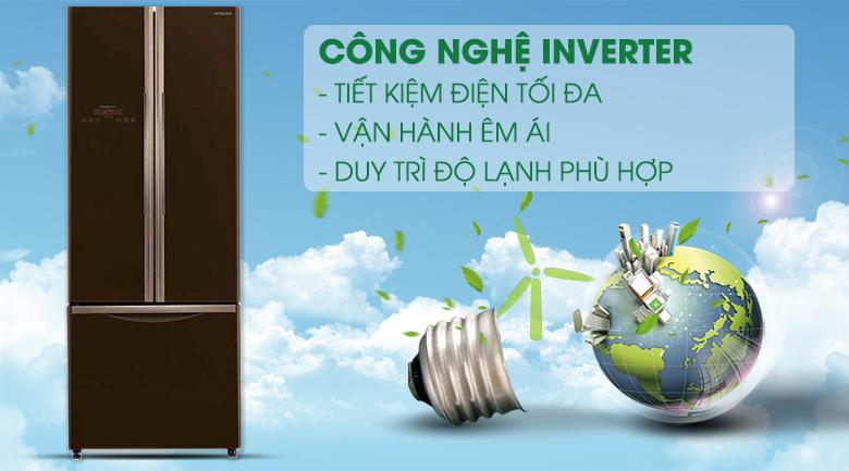 Công nghệ Inverter tiết kiệm điện hiệu quả - Tủ lạnh Hitachi Inverter 405 lít R-FWB475PGV2 GBW
