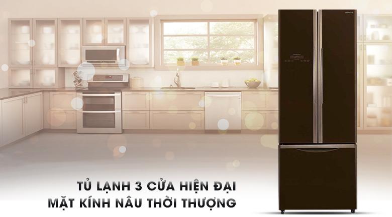 Thiết kế 3 cửa cùng ngăn đá dưới hiện đại - Tủ lạnh Hitachi Inverter 405 lít R-FWB475PGV2 GBW