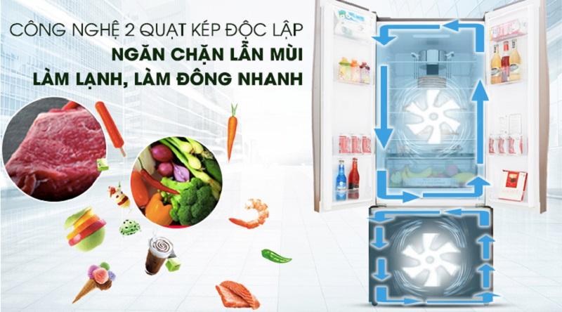 Hơi lạnh tỏa đều với hệ thống quạt kép - Tủ lạnh Hitachi Inverter 405 lít R-FWB475PGV2 GBW