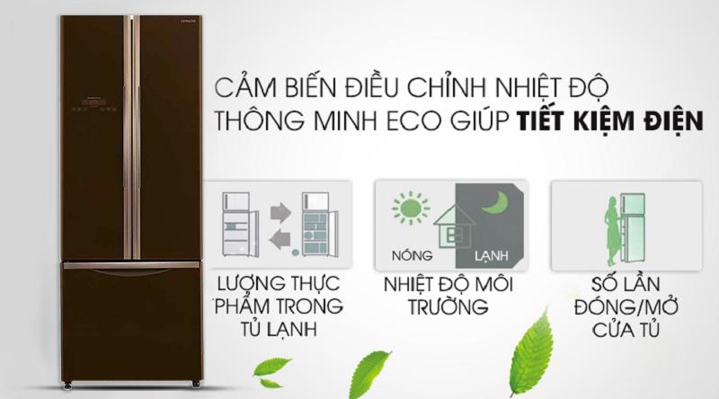 Cảm biến nhiệt Eco thông minh - Tủ lạnh Hitachi Inverter 405 lít R-FWB475PGV2 GBW