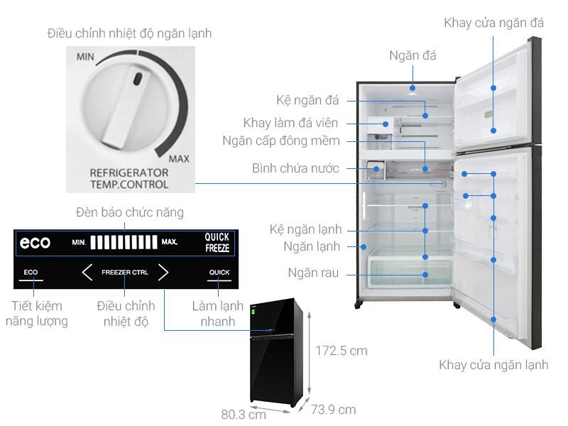 Thông số kỹ thuật Tủ lạnh Toshiba Inverter 555 lít GR-AG58VA XK
