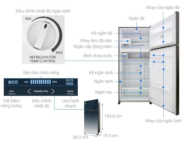 Thông số kỹ thuật Tủ lạnh Toshiba Inverter 608 lít GR-AG66VA GG