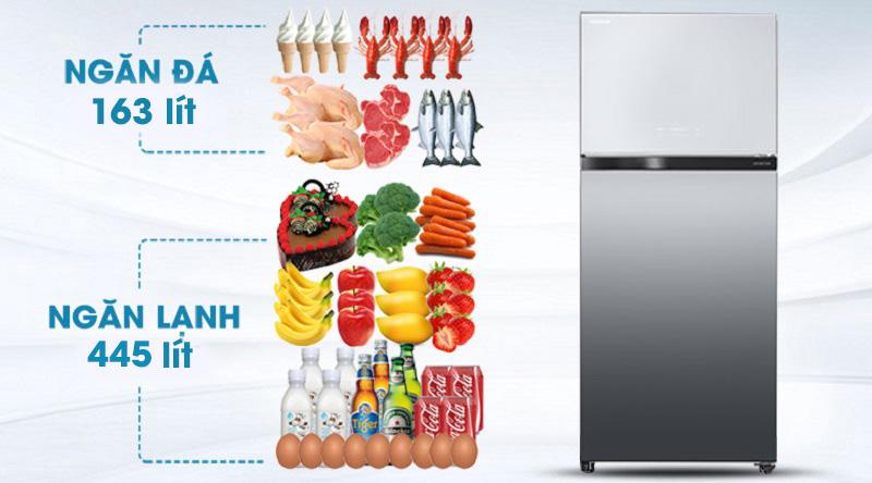 Tủ lạnh Toshiba Inverter 608 lít GR-AG66VA X - dung tích 608 lít, phù hợp hộ gia đình trên 5 người