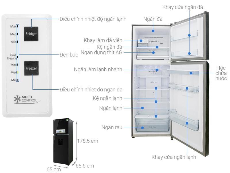 Thông số kỹ thuật Tủ lạnh Panasonic Inverter 366 lít NR-BL381WKVN