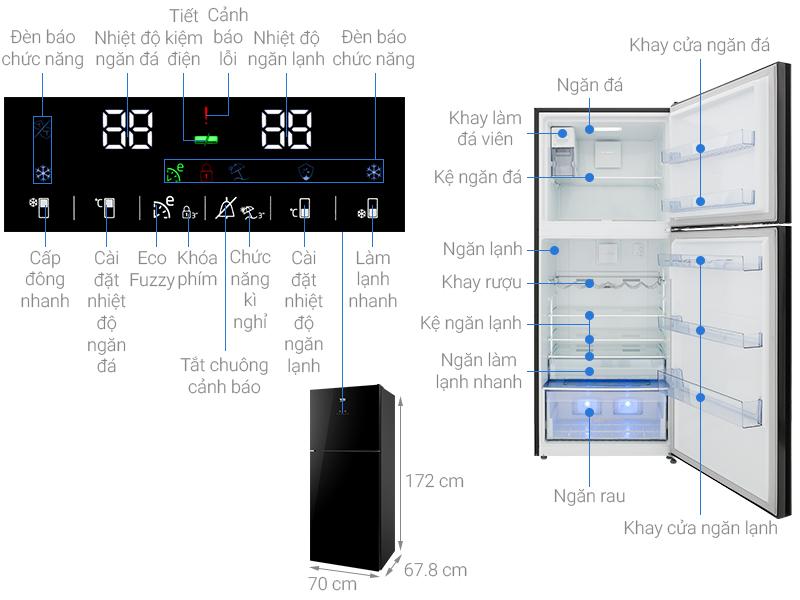 Thông số kỹ thuật Tủ lạnh Beko Inverter 392 lít RDNT440E50VZGB