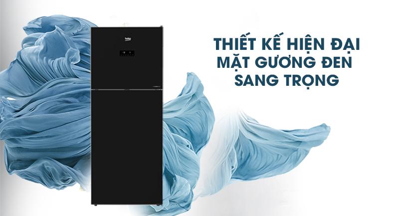 Tủ lạnh Beko Inverter 392 lít RDNT440E50VZGB-Thiết kế hiện đại, mặt gương đen sang trọng