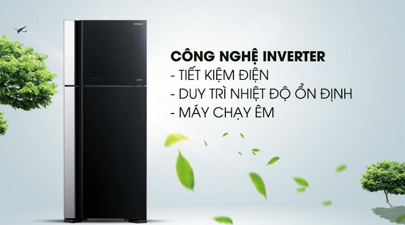 Tủ lạnh Hitachi Inverter 450 lít R-FG560PGV7 GBK-Tiết kiệm điện hiệu quả với công nghệ Inverter