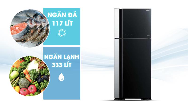 Tủ lạnh Hitachi Inverter 450 lít R-FG560PGV7 GBK-Dung tích 450 lít, phù hợp gia đình 4 - 5 người