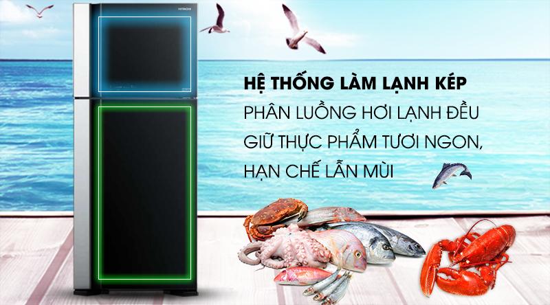 Tủ lạnh Hitachi Inverter 450 lít R-FG560PGV7 GBK-Phân luồng hơi lạnh đều nhờ hệ thống làm lạnh kép