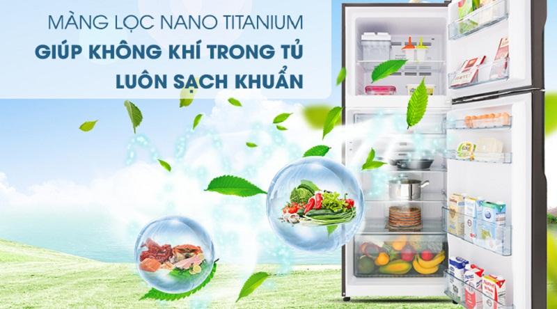 Tủ lạnh Hitachi Inverter 450 lít R-FG560PGV7 GBK-Diệt khuẩn, khử mùi tối ưu bởi màng lọc Nano Titanium