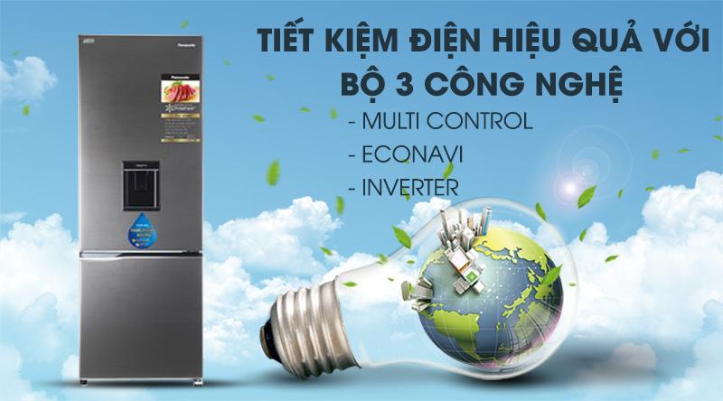 Tủ lạnh Panasonic Inverter 322 lít NR-BV360WSVN-Tiết kiệm điện hiệu quả nhờ bộ 3 công nghệ: Multi Control, Econavi và Inverter