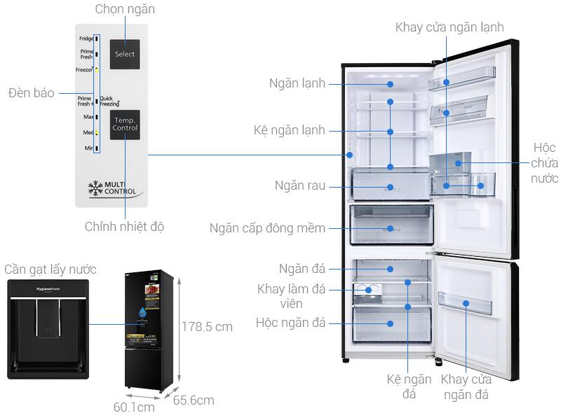 Thông số kỹ thuật Tủ lạnh Panasonic Inverter 322 lít NR-BC360WKVN