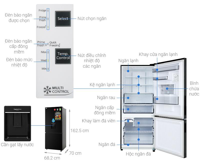 Thông số kỹ thuật Tủ lạnh Panasonic Inverter 368 lít NR-BX410WKVN