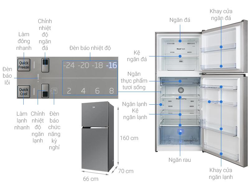 Thông số kỹ thuật Tủ lạnh Beko Inverter 340 lít RDNT371I50VS
