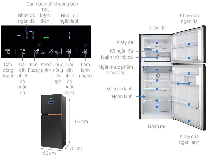 Tủ lạnh Beko Inverter 340 lít RDNT371E50VZK