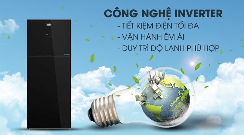 Tủ lạnh Beko Inverter 340 lít RDNT371E50VZGB-Tiết kiệm điện hiệu quả nhờ công nghệ Inverter