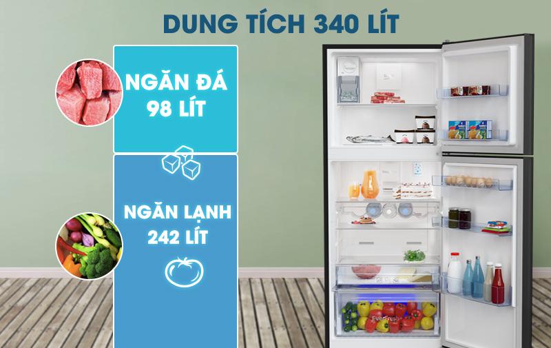 Tủ lạnh Beko Inverter 340 lít RDNT371E50VZGB-Dung tích 340 lít, phù hợp cho gia đình từ 3 - 4 người